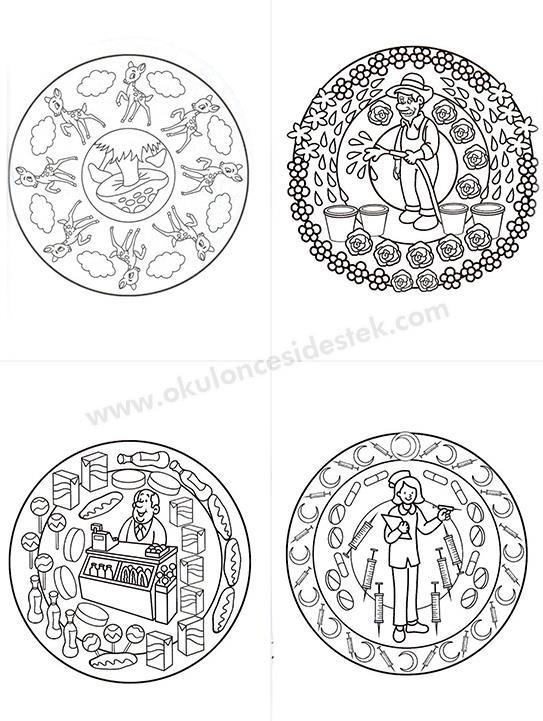 Temalı Mandala Boyama Seti 3 6 Yaş 4 Kitap Okul öncesi Destek